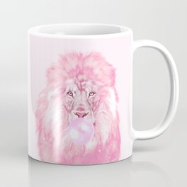 Lion Chewing Bubble Gum in Pink Coffee Mug