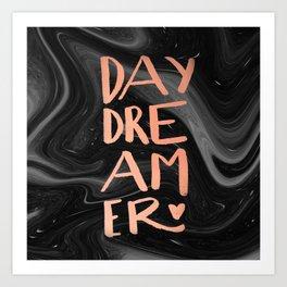 daydreamer (rose gold + handmade lettering) Art Print