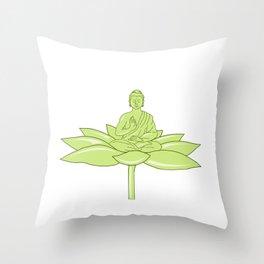 Buddha Sitting on Lotus Flower Drawing Throw Pillow