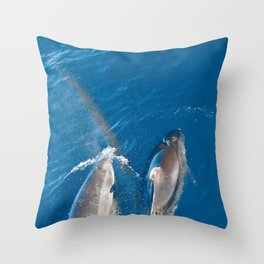 Dolphins with rainbow Throw Pillow