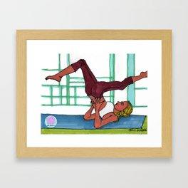 yoga girl in shoulder stand Framed Art Print