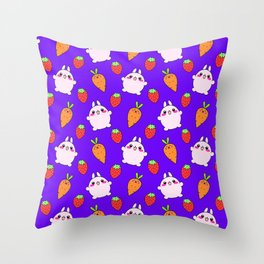 Cute funny Kawaii pink little baby bunnies, happy orange carrots and ripe juicy summer strawberries adorable lovely purple fruity pattern design. Nursery decor ideas. Throw Pillow