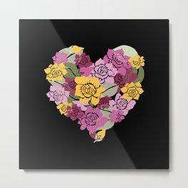 Gardenia Heart Metal Print