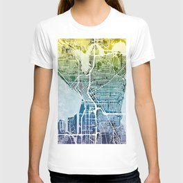 Seattle Washington Street Map T-shirt