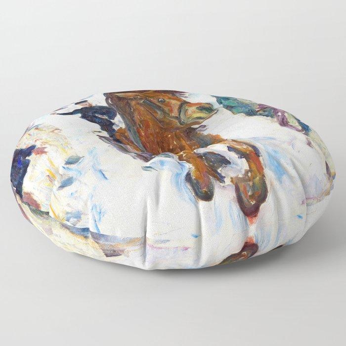 Galloping Horse by Edvard Munch Floor Pillow
