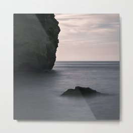 Sunrise at the sea. Cliff. Square.. Mystical beaches. At sunrise Metal Print