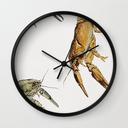 Vintage Crayfish Illustration Wall Clock