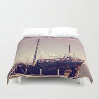 pirate ship Duvet Covers featuring Pirate Ship by Apples and Spindles