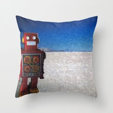 Toy Robots Attack 1 Throw Pillow