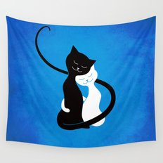 White And Black Cats In Love Wall Tapestry