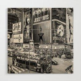 Times Square II (B&W widescreen) Wood Wall Art