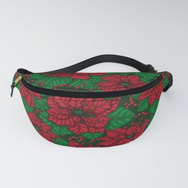 Poinsettia, Christmas pattern Fanny Pack