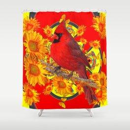 RED CARDINAL YELLOW SUNFLOWERS RED ART Shower Curtain