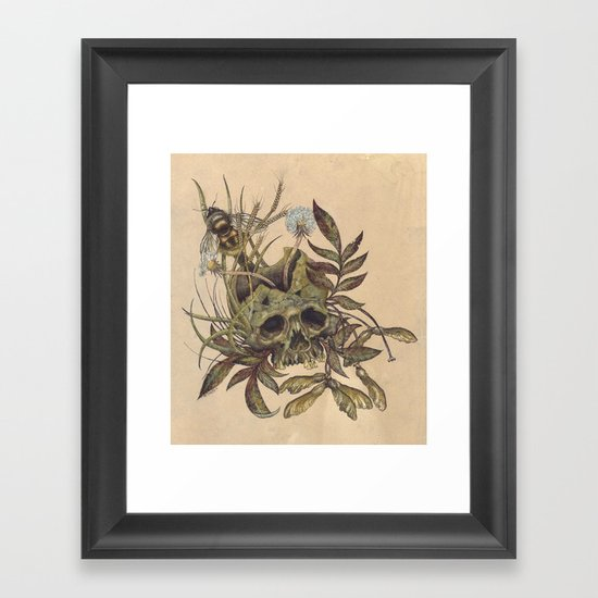 Skull with Weeds. Framed Art Print