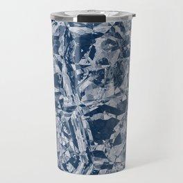 Custom Modern Abstract Blue Crinkle Pattern Travel Mug