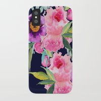 craftberrybush iPhone & iPod Cases featuring Floral blue by craftberrybush