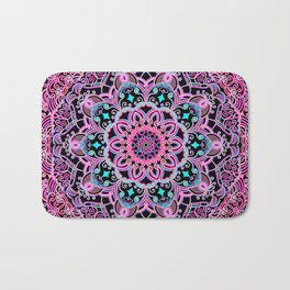 Mandala Project 281 | Pink Teal Purple Lace Mandala Bath Mat
