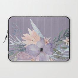 Striped Floral Lavender Bouquet Laptop Sleeve
