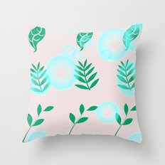 Green leaves with light Throw Pillow