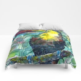 TOUCAN, watercolor illustration (nature) Comforters