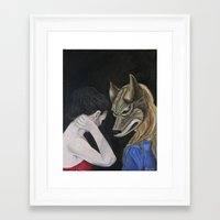 bad wolf Framed Art Prints featuring Bad Wolf by Angela Renée Morgane