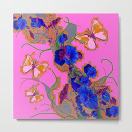 Pink Butterflies Blue Morning Glory Pink Color Art Metal Print