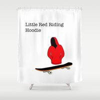 skateboard Shower Curtains featuring red riding hoodie, skateboard by yahtz designs