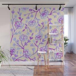Watercolor Peonies - Peach Violet Wall Mural