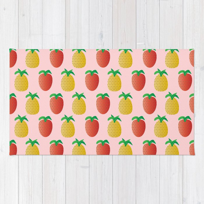 Strawberries and Pineapples - A Tropical Pink Surprise! Rug