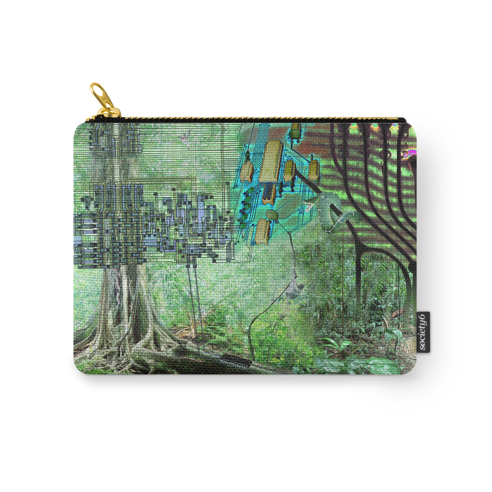 Digital Circuit Jungle Tree, Creatures Of The Electronic Age Carry-All Pouch by photovault