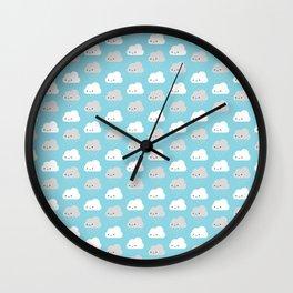 Happy and Sad Kawaii Clouds Wall Clock