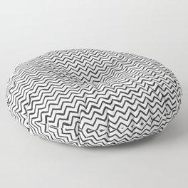 Black & White Hand-drawn ZigZag Pattern Floor Pillow