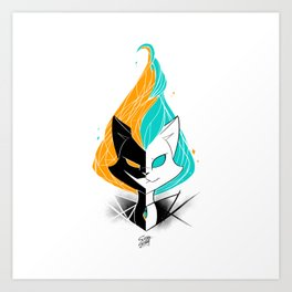 Nightmare/ScribbleNetty (Orange/Turquoise) Art Print