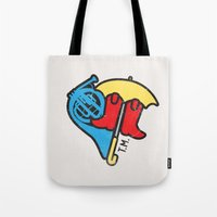 himym Tote Bags featuring Hey Beautiful by Reg Lapid