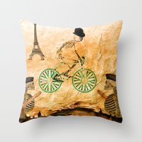 """tour de france Throw Pillows featuring Monsieur Bone and """" le  Tour de France """" by Joe Ganech"""