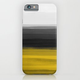 Abstract Watercolor Painting: Yellow Gold Black Gray 01 iPhone Case