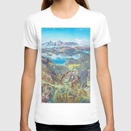 Yellowstone Park and Lake Panorama;  Wyoming, Montana & Idaho landscape painting by Heinrich Berann  T-shirt