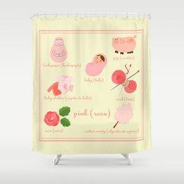 Colors: pink (Los colores: rosa) Shower Curtain