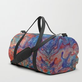 Fluid Abstract 18; Fire Meets Oceans Waves Duffle Bag