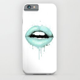 Spearmint Aqua Lips Art Makeup Decor Watercolor Kiss Love Sexy Girl Fashion Poster Lipstick iPhone Case