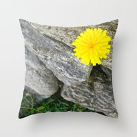vermont Throw Pillows featuring Vermont Dandelion by Savanna Mulvaney