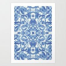 Pattern in Denim Blues on White Art Print