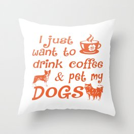Coffee & Dogs Throw Pillow
