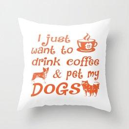 Coffee & Dogs Throw Pillow