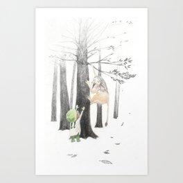 Climbing trees is hard in mittens Art Print