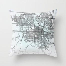 Eugene, OR, USA, White, City, Map Throw Pillow