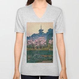 Yoshida Hiroshi - Cherry Blossoms 8scenes, Sankeien Garden - Digital Remastered Edition Unisex V-Neck