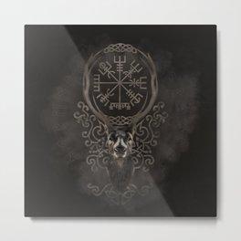 Deer and Vegvisir - Viking  Navigation Compass Metal Print
