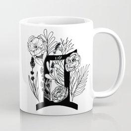 Gemini - monochrome floral horoscope Coffee Mug