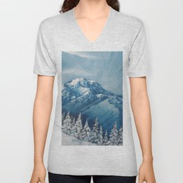 Snowy Mountain Rainier landscape. USA Winter Scene. Snowy forest. Perfect Christmas scenery and gift, original oil painting by Luna Smith Unisex V-Neck